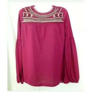 Red Camel Top Blouse Size XS Long Sleeve Dressy